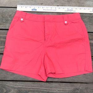 J Crew Beautiful Coral Button Button Shorts Sz 6